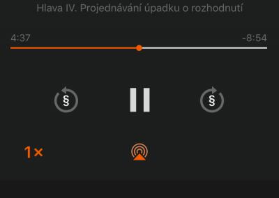 Obrazovka pro přehrávač Audiozákonů